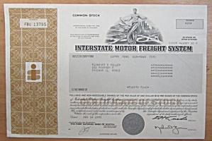 1980 Interstate Motor Freight System Stock Certificate