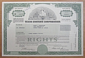 1986 Texas Eastern Corporation Stock Certificate