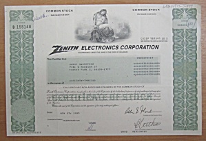 1995 Zenith Electronics Corp Stock Certificate
