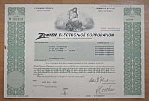 1996 Zenith Electronics Corp Stock Certificate
