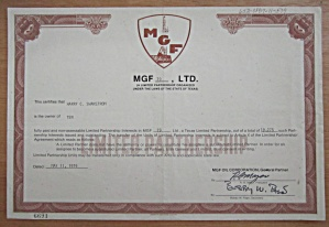 1979 Mgf Limited Stock Certificate