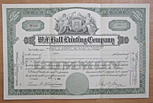 1947 W. F. Hall Printing Company Stock Certificate