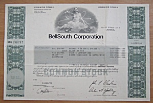1995 Bell South Corporation Stock Certificate