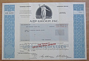 1987 Azp Group Inc Stock Certificate