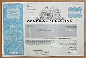 1999 General Mills Incorporated Stock Certificate