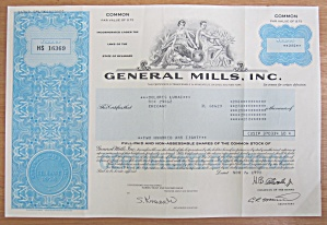 1990 General Mills Incorporated Stock Certificate