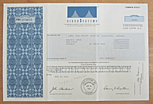 2000 Cisco Systems Stock Certificate