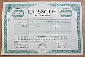 1999 Oracle Corporation Stock Certificate