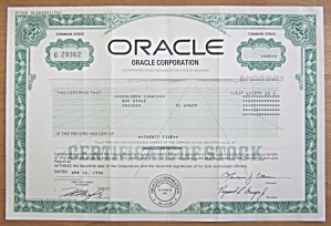 1996 Oracle Corporation Stock Certificate