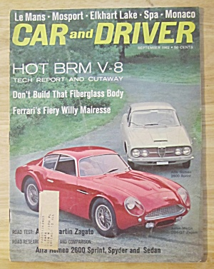 Car & Driver Magazine September 1962 Hot Brm V-8