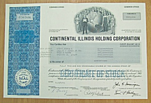 1984 Continental Illinois Holding Co Stock Certificate