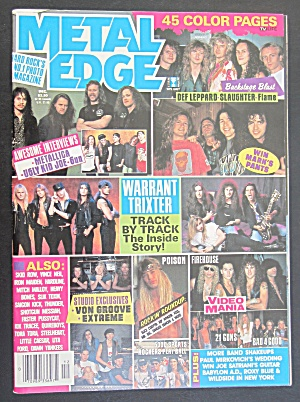 Metal Edge Magazine December 1992 Warrant Trixter