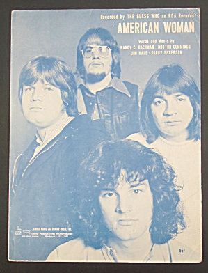 1969 American Woman Sheet Music The Guess Who