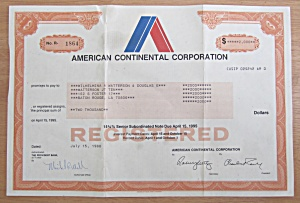 1988 American Continental Corp Stock Certificate