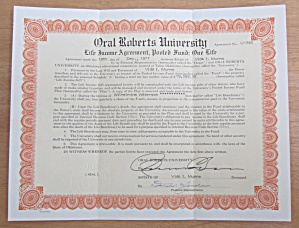 1977 Oral Roberts University Stock Certificate