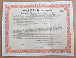 1978 Oral Roberts University Stock Certificate