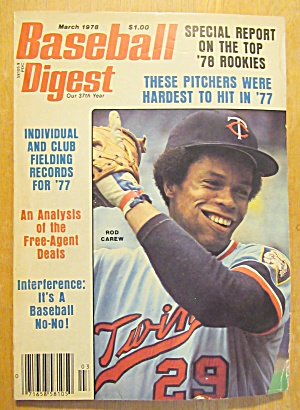 Baseball Digest Magazine March 1978 Rod Carew (Image1)