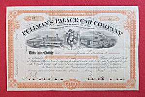Pullman Palace Car Co RR Chicago Stock Certificate 1884 (Image1)