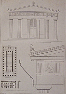 Temple De Thesee A Athenes (1852 Lithograph)