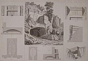 Tombeaux A Castel-D'Asso, Pres Viterbe -1852 Lithograph (Image1)