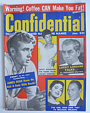 Confidential Magazine-january 1958-james Dean/luciano