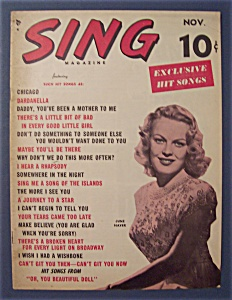 Sing Magazine - November 1949 - June Haver Cover