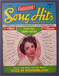 Song Hits Magazine-august 1951-elizabeth Taylor Cover