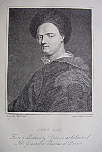 Original 1881 Engraving of John Gay (Image1)