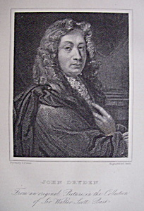 Original 1881 Engraving of John Dryden (Image1)