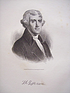 Founding Father President Thomas Jefferson Engraving (Image1)