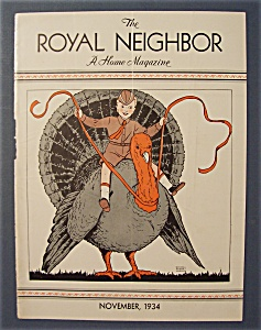 Royal Neighbor Cover-november 1934-boy On Turkey