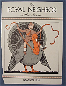 Royal Neighbor Cover-november 1934-child Sitting On Egg