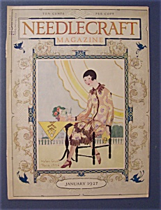 Needlecraft Magazine Cover By Helen Grant-january 1927