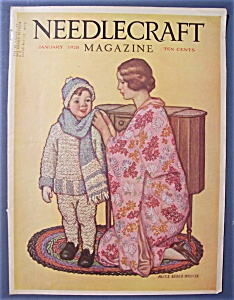 Needlecraft Magazine Cover By Alice Winter-january 1928
