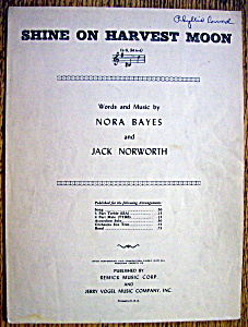 Sheet Music/1941 Shine On Harvest Moon By Jack Norworth