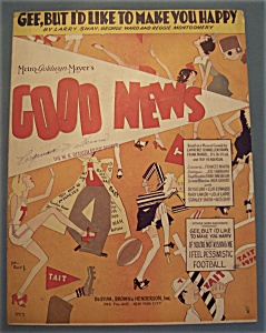 Sheet Music Of 1930 Gee, But I'd Like To Make You Happy