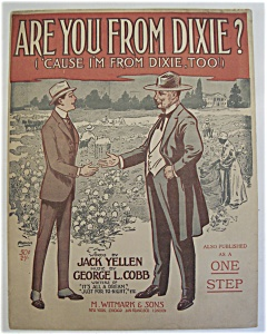 Sheet Music Of 1915 Are You From Dixie?