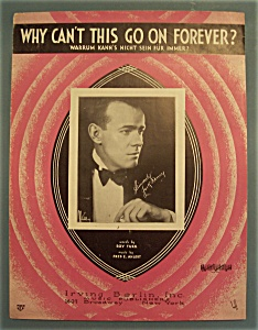 Sheet Music Of 1932 Why Can't This Go On Forever?