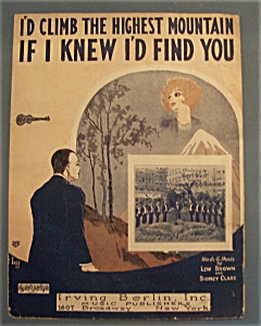 Sheet Music Of 1926 I'd Climb The Highest Mountain