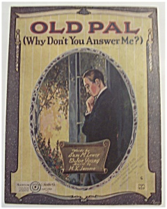 Sheet Music For 1920 Old Pal