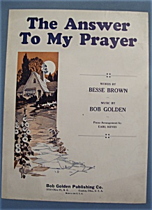 Sheet Music For 1932 The Answer To My Prayer