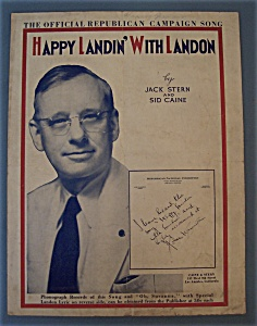 Sheet Music For 1936 Happy Landin' With Landon