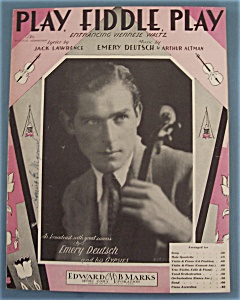 Sheet Music For 1932 Play, Fiddle, Play