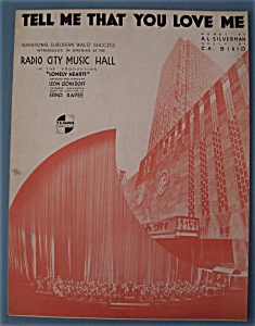 Sheet Music For 1933 Tell Me That You Love Me