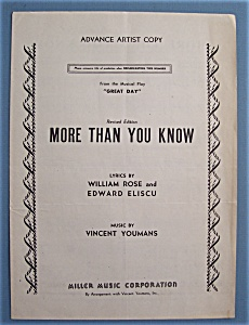 Sheet Music For 1946 More Than You Know
