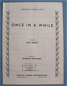 Sheet Music Of 1937 Once In A While-advance Artist Copy