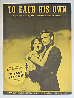 1946 To Each His Own By Jay Livingston & Ray Evans