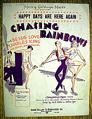 Sheet Music For 1929 Happy Days Are Here Again
