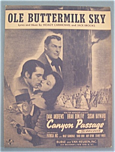 Sheet Music For 1946 Ole Buttermilk Sky-canyon Passage