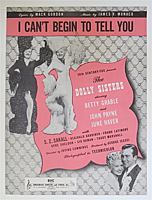 Sheet Music/1945 I Can't Begin To Tell You-betty Grable